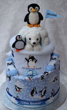 penguin nappy cake