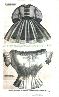 Girl's walking dress 1864 Godey's Lady's Book image of page 427