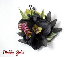 Black Tropical Orchids Hair flower, Pin Up, Rockabilly, Hawaiian, Luau Clip by DiabloJos on Etsy