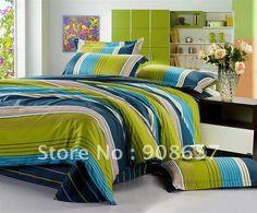 Twin Boys Blue Green Orange Brown Reversible Stripe Plaid