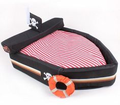 New Cute Black Pirate Boat Pet Dog Cat House Bed With Life Buoy Size M #hangyi