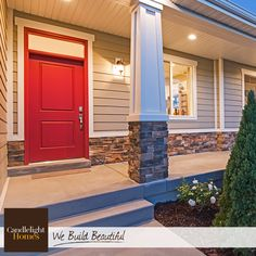 We love a bright red front door. This one is paired with a beautiful white trim…