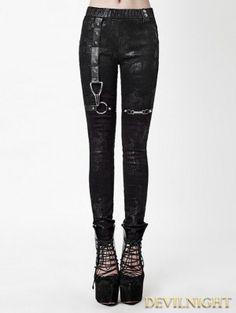 Black Gothic Punk High-Waist PU Legging for Women