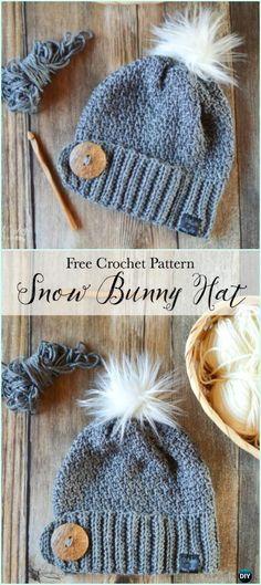 Crochet Snow Bunny Hat Free Pattern - #Crochet Beanie #Hat Free Patterns