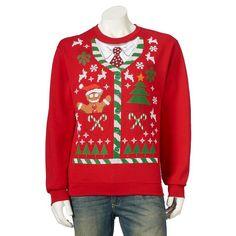 Men's Ugly Chirstmas Holiday Scene Sweatshirt, Size: