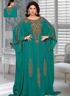 Aniiq Creations Green Color Farasha Style Kaftan With Different sleeve Farasha, Georgette, Green, Hand, Silver – Arabic attire Caftan Dress, I Dress, Kids Kaftan, African Wear Styles For Men, Muslimah Wedding Dress, Arabic Dress, Latest African Fashion Dresses, Muslim Fashion, Designer Dresses