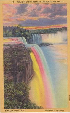 American and Horseshoe Falls Twilight by postcardsofthepast