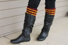 One pair of Gryffindor Boot Cuffs.  Show your Harry Potter School Spirit with hese versatile knit boot toppers. Keep your legs warm while