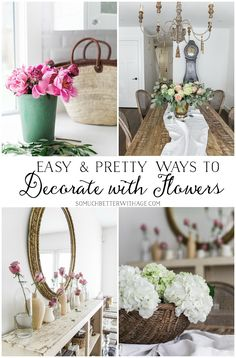 Easy and pretty ways to decorate with flowers using unusual vases and simple techniques. Gorgeous photos with pretty and creative floral displays. Country Decor, Rustic Decor, Decorating Tips, Decorating Your Home, Cheap Home Decor, Diy Home Decor, Home Decoration, Look Vintage, French Decor
