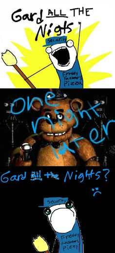 F.N.A.F: GUARD ALL THE NIGHTS!!! (Meme) by ViperPitsFilly on deviantART