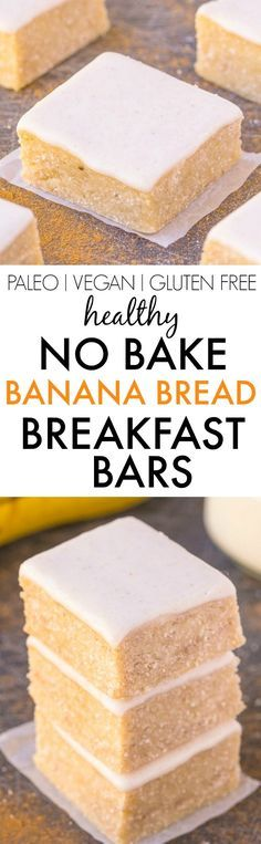 Healthy NO BAKE Banana Bread Breakfast Bars- Thick, chewy and JUST like a blondie, but with NO butter, oil, grains or white sugar- It's PACKED… Paleo Dessert, Gluten Free Desserts, Gluten Free Recipes, Vegan Recipes, Dessert Recipes, Cooking Recipes, Paleo Vegan, Healthy Baking, Healthy Desserts