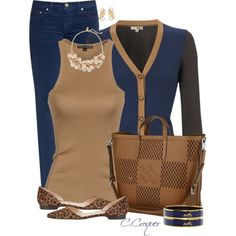 Light Brown & Dark Blue by ccroquer on Polyvore featuring polyvore, fashion, style, Ralph Lauren Black Label, NW3, Tory Burch, Manolo Blahnik, Hermès, The Limited, Bulgari and Louis Vuitton