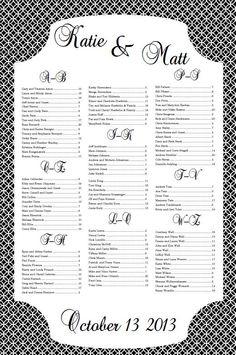 Printable Wedding Seating Chart  Printable Wedding Seating Chart
