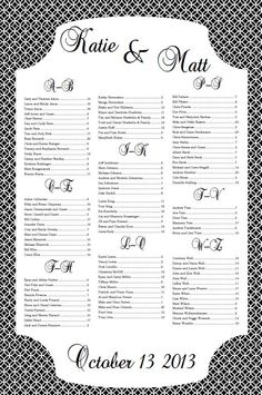 Printable Wedding Seating Chart  Printable Wedding Seating Chart