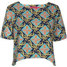 Boohoo Khloe Chain Woven Print Shell Top
