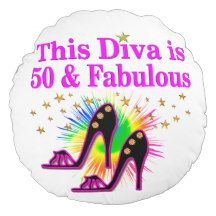50 AND FABULOUS ROUND PILLOW Dazzle, sparkle, and shine with a unique and original 50th birthday gift. http://www.zazzle.com/jlpbirthday/gifts?cg=196128245923858498&rf=238246180177746410  #50yearsold #50thbirthday #50thbirthdaygift #50thbirthdayideas #Happy50th #50thbirthdayparty
