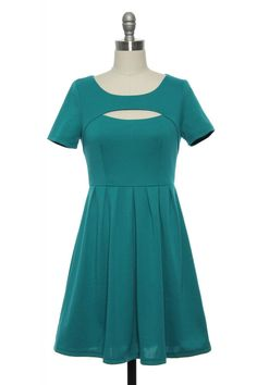 Cut-Out as a Button Dress in Teal | Vintage, Retro, Indie Style Dresses $19.99