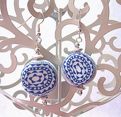 Greek White and Blue  Polymer Clay Earrings £5.00