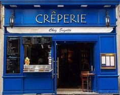 """Paris Photograph, """"BLUE CRÊPERIE,"""" Fine Wall Art, Bright Blue Paris Creperie Storefront, 8x10 image, Fine Home Decor, royal blue, gold"""