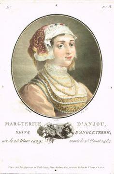 Marguerite d'Anjou, Reine d'Angleterre; née le 23 Mars 1429; morte le 25 Aoust 1482 - gravé par Ridé en 1787 d'après Sergent - série N n°5 - MAS Estampes Anciennes - Antique Prints