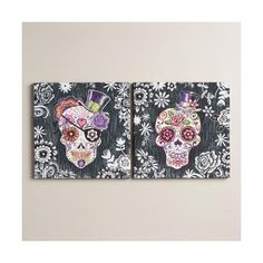"Cost Plus World Market """"Sugar Skulls"""" by Geoff Allen (58 TND) ❤ liked on Polyvore featuring home, home decor, skull home decor, cost plus world market und skull home accessories"