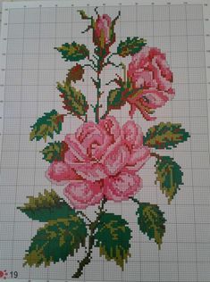 Embroidery Flowers Pattern, Embroidery Art, Cross Stitch Embroidery, Cross Stitch Rose, Cross Stitch Flowers, Cross Patterns, Counted Cross Stitch Patterns, Welcome Flowers, Crochet Flower Tutorial