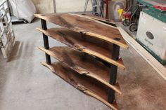 Custom build for Beth - Corner Entertainment Center - Walnut and Steel 50% balance wood walnut steel entertainment center console tv stand live edge resin epoxy modern corner table triangle industrial