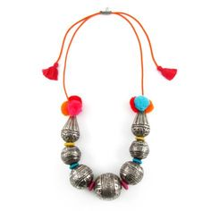 Big Silver Beads with PomPoms and Tassles. By Sweetlime.