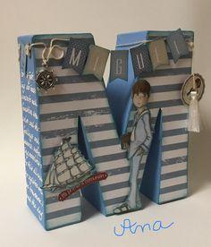 Inicial de comunión Letters For Kids, Diy Letters, Letter A Crafts, Wood Letters, Paper Crafts For Kids, Diy And Crafts, Decoupage, Wall Art Crafts, Birthday Scrapbook