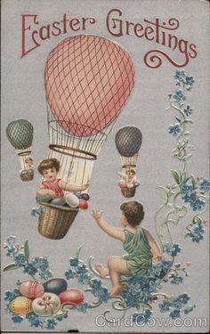 Children in Hot Air Baloons Series 228 Easter Greetings