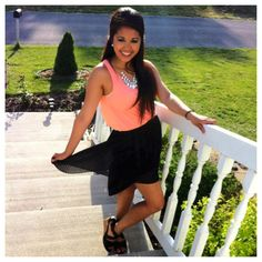Summer look: black hi-lo skirt with coral top :). My liiiiiittle Asian!!