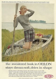 Gretchen Harris for Dupont Orlon ad gray sweater, plaid shorts and gray knee socks, with red shoes