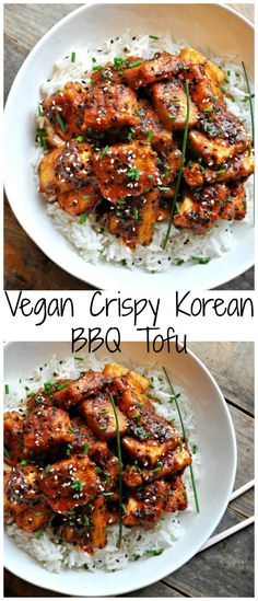 Vegan Crispy Korean BBQ Tofu Super crispy tofu tossed in the most delicious Korean inspired BBQ sauce. Can be totally gluten free! The post Vegan Crispy Korean BBQ Tofu & Fitness-Food & Recipes (gesund & vegan) appeared first on Vegan recipes . Vegan Dinner Recipes, Veggie Recipes, Asian Recipes, Whole Food Recipes, Free Recipes, Chicken Recipes, Veggie Food, Gluten Free Korean Recipes, Best Vegan Meals