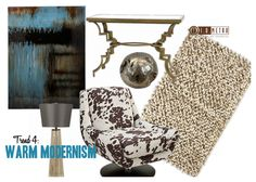 "TREND 4: WARM MODERNISM  ""This timeless style refers both to simple, modern pieces and to pared-down versions of traditional silhouettes. Quiet elegance is the hallmark of these nimble designs: even the most decorative interiors benefit from the foil of a streamlined accent piece."" #fall #trends"