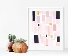 abstract painting-blush pink and gold decor- geometric art - acrylic on paper 8 x 10 by melissamaryjenkins on Etsy