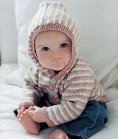 Free Baby's Hooded Cardigan Knitting Pattern