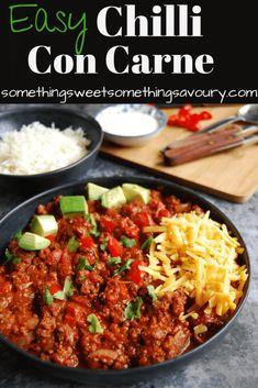 Mince Recipes, Chilli Recipes, Beef Recipes, Cooking Recipes, Mexican Recipes, Mexican Meals, Fall Recipes, Best Chilli Con Carne, Chilli Con Carne Recipe