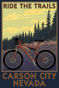 Carson City, Nevada - Mountain Bike Scene - Ride the Trails - Lantern Press Artwork