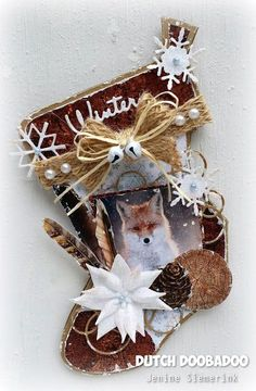 CraftEmotions Christmas Nature Collection . Card made by Jenine Siemerink