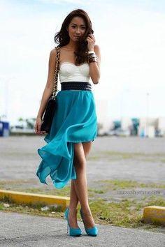 Короткая юбка со шлейфом