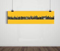 Poster Panorâmico World Skyline Yellow Gold / Artista Sergio Piancó