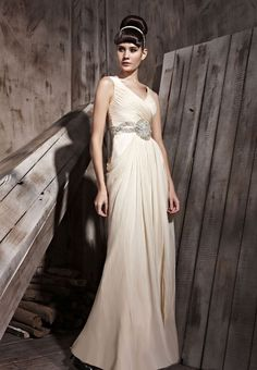 Apricot Double V-Neck Sexy Prom Formal Ball Long Evening Dress