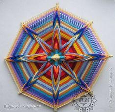 Плетёная мандала Око Бога 16-ти лучевая. Диаметр 40см. Сплетениа на усиление Вашей связи с Высшими Силами и на нахождение и активного продвижения по Вашему духовному пути. А также на привлечение в вашу жизнь творчества. 40см диаметр. фото 11