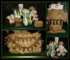 Country Themed John Deere Tractor Diaper Cake Display www.craftycompliments.com