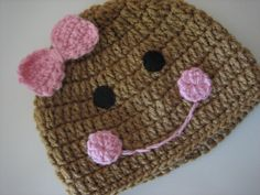 Holiday Gingerbread Girl Crochet Beanie by CaliforniaSweetPeas, $16.00