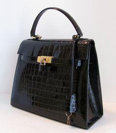 fbae17b0c2b2 Mint Vintage Hermes Grace Kelly Bag Style Crocodile Patent Leather Key Lock  Strap