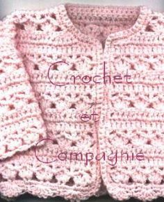 Gilet Crochet, Crochet Stitches, Crochet Patterns, Baby Cardigan, Crochet For Kids, Smocking, Site Web, Sweaters, Jackets