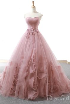 c6fd75cba5a Dusty rose strapless ball gown prom dresses. Sweet 16 quinceanera dresses. Prom  Dresses 2019