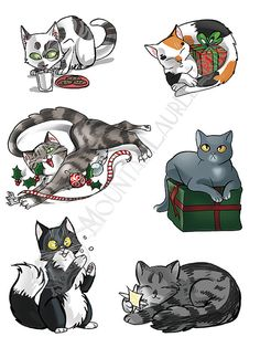 Christmas Cat Collage  Digital Download  by mtnlaurelarts on Etsy
