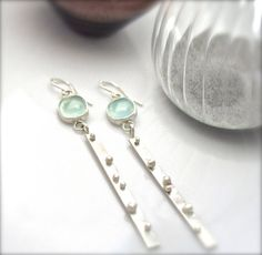 Sea Bubbles Chalcedony Earrings in Sterling